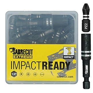 Juego de 21 brocas SabreCut SCPA25_21 PZ2 de 25 mm para destornillador de impacto con una sola punta Pozidriv POZI nº 2, de alta resistencia. Incluye soporte de brocas y caja de almacenamiento