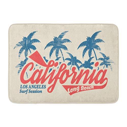 Fußmatten Badteppiche Outdoor / Indoor Fußmatte Blau Stempel der Brandung und des Surfens in Kalifornien Los Angeles City Long Beach Vintage-Grafiken Navy Sommer Badezimmer Dekor Teppich Badematte (Angeles Party Los City In)