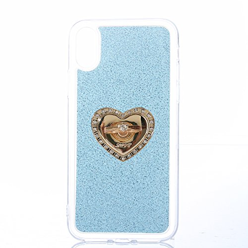 EUWLY Cover per iPhone X, Protettiva Silicone Custodia Per iPhone X TPU Copertura Cover Case Lusso Glitter Bling Brillante Trasparente Silicone TPU Cover Custodia con Finger Ring Grip Holder Stand pro Ring Stand,Ciano