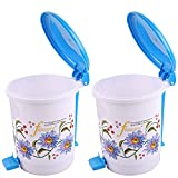 #4: Kuber Industries Floral Design 2 Piece Plastic Dustbin, Small, Blue