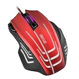 Speedlink DECUS RESPEC Gaming Mouse - Souris de Gaming Professionnelle (Jusqu'à 5000Dpi, 7Boutons Programmables, Rétro-Èclairage, Système de Poids) Noir/Rouge