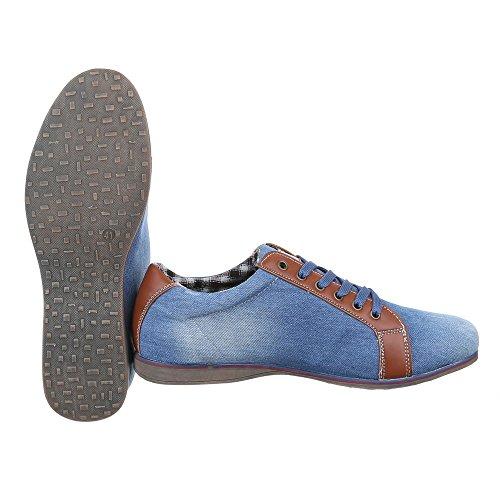 Ital-Design - Scarpe Basse Stringate Uomo Blu chiaro