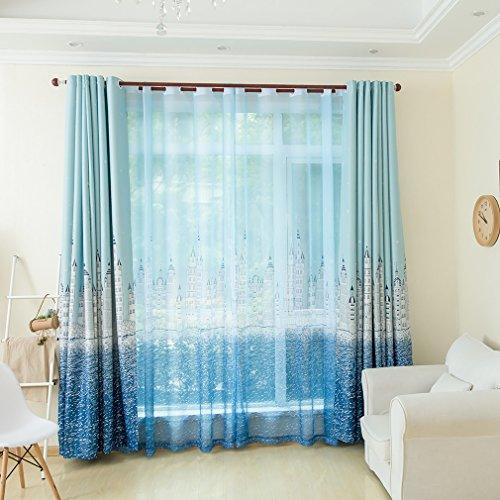 Kinlo 2pcs Vorhänge Schlaufen Gardinen Seeschloss hell blau Verdunkelungsvorhang 145*245cm Schlafzimmer in - Für Blau Vorhänge Wohnzimmer
