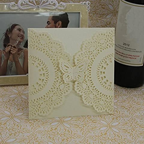 IGEMY 20 Pcs Delicate Carved Romantic Wedding Party Invitation Card Envelope D (Beige)