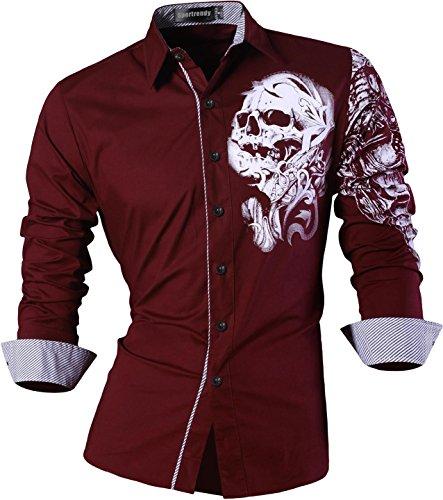 Sportrendy Herren Freizeit Hemden Slim Button Down Long Sleeves Dress Shirts Tops MFN2_JZS041 (USA S (Chest 99-101cm), JZS042_WineRed)
