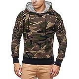 KPILP Herrenmode Herbst Winter Casual Militär Tarnung Patchwork Langarmshirt mit Kapuze Oben Bluse Outwear(Braun, XL