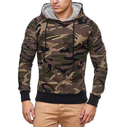 KPILP Herrenmode Herbst Winter Casual Militär Tarnung Patchwork Langarmshirt mit Kapuze Oben Bluse...
