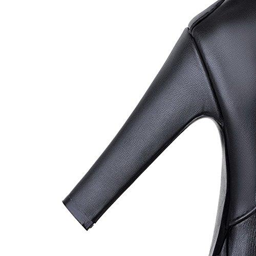 VogueZone009 Damen Hoher Absatz Niedrig-Spitze Rein Reißverschluss Stiefel mit Lesbie Schwarz