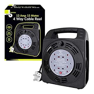 Benross 48280 4 Way Cable Reel Extension Lead with 15m Cable, 1-Pack