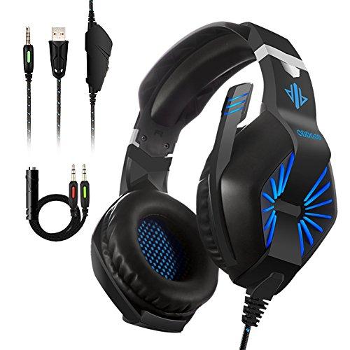 Supnew Casque Gamer 7.1 Surround Sound pour PS4, Xbox One, PC, Laptop, Tablette, et Tous Les Smartphone, 3.5mm Jack Casque Gamer avec Micro Anti-Bruit, Stéréo Basse avec LED Lampe Luminosité