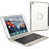 Funda-teclado Apple iPad Mini 4, COOPER KAI SKEL P1 Carcasa teclado inalámbrico Bluetooth portátil Macbook, 13 atajos, plateada