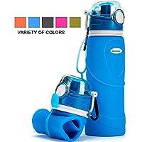 Kemier Bouteilles d'eau Pliables en Silicone de Format de 750mL,sans BPA,Approuvées La FDA.Bouteilles d'eau Pliables Pouvant s'Enrouler Sports Plein Air,étanches à l'épreuve des Fuites