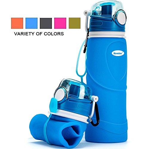Kemier kollabierbare Silikon-Wasserflaschen-750ML, Medizinische Qualität, BPA-Frei, FDA-Zugelassen, Aufrollen, 26oz, auslaufsicher, Faltbar Sport & Outdoor-Wasserflaschen (Blau) -