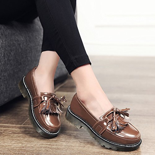 HWF Chaussures femme Printemps Tassel British Style Femmes Chaussures Shallow Mouth Unique Retro En Cuir Plat Chaussures Casual Femme ( Couleur : Noir , taille : 40 ) Marron