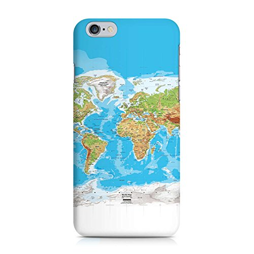 COVER Weltkarte Atlas Reisen Design Handy Hülle Case 3D-Druck Top-Qualität kratzfest Apple iPhone 6 6S