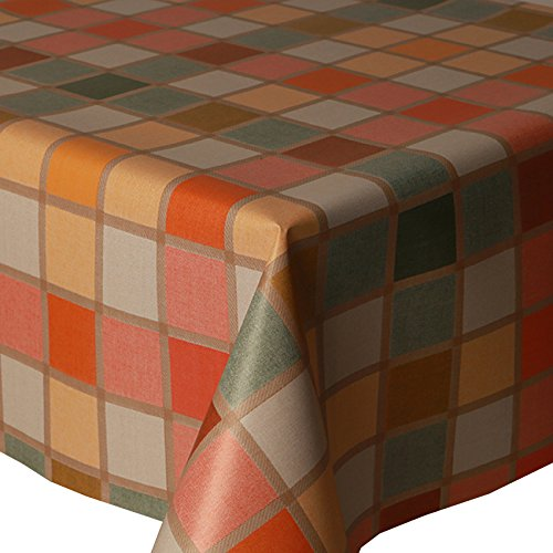 PVC Tablecloth Mosaic Check Multi 2 Metres (200cm x 140cm), Multi Coloured Boxes Checked Squares, Mediterranean Greek Tile Effect, Green Lemon Yellow Beige Orange Terracotta, Wipe Clean, Vinyl / Plastic Table Cloth