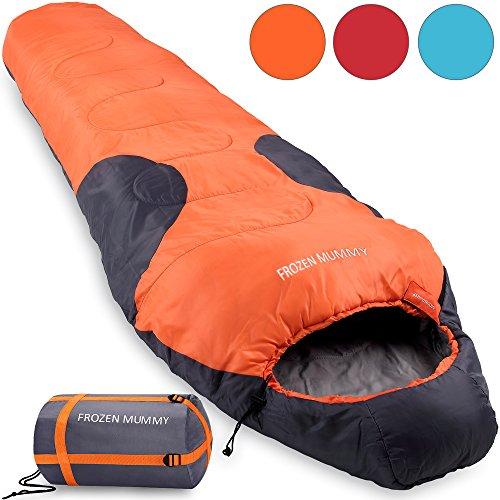 Frozen Mummy Schlafsack - 230x82cm - bis -21°C - Mumienschlafsack Deckenschalfsack - leicht mit Tragetasche - orange-anthrazit Farbwahl