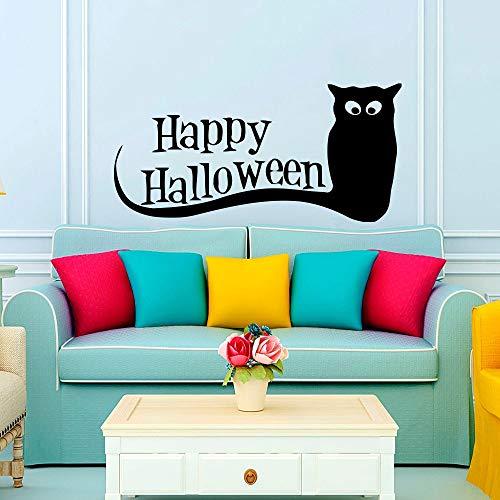 Shentop Happy Halloween Owl Zitate Wandaufkleber Wohnzimmer Schlafzimmer Wand Poster Aufkleber Halloween Festival Wohnkultur Wandmalereien Vinyl 27 * 57 cm (Und Zitate Halloween-bilder Happy)