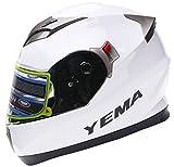 YEMA YM-829 Integralhelm mit Doppelvisier-Weiß-L