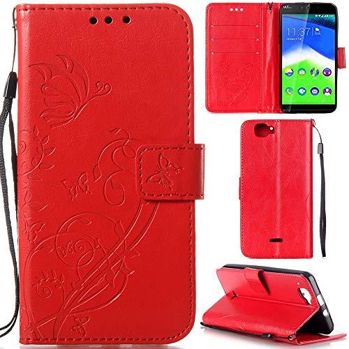 Ooboom® Wiko Rainbow 4G Hülle Prägen Schmetterling Blume Flip PU Leder Tasche Case Cover Brieftasche Magnetverschluss für Wiko Rainbow 4G - Rot