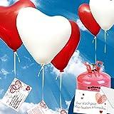 50 Luftballons - Herzballons Rot/Weiss Ø 30cm + PORTOFREI mgl + Geschenkkarte + Helium & Ballongas geeignet. High Quality Premium Ballons vom Luftballonprofi & deutschen Heliumballon Experten. Ideales Geschenk zur Hochzeitsfeier und Ballon Deko zur Hochzeit.