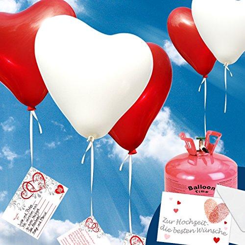 50x Heliumballons - Herzluftballons Rot/Weiss Ø 30cm + Geschenkkarte + Helium & Ballongas geeignet Hochzeitsfeier und Ballon Deko zur Hochzeit.