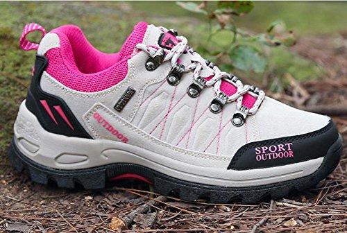 Suetar Scarpe da Escursionismo in Pelle di Moda Uomo/Donna Scarpe da Trekking Outdoor Antiscivolo Autunnali White