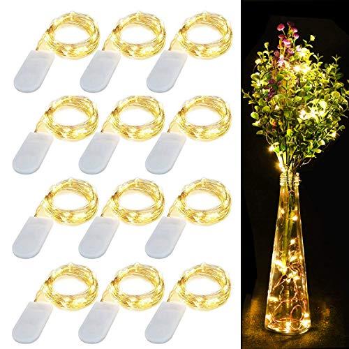 12 Stück Drahtlichterkette, 20 LEDs Kupferdraht Lichterkette Batterie betrieben Wasserdicht Dekoration Lichter für Innen Außen Party Heim Weihnachten Hochzeit Dekor(Warmweiß, 7.2Ft/2.2M)
