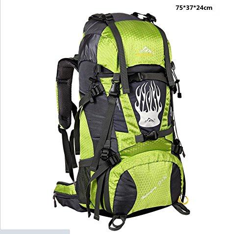 LQABW Outdoor Bergsteigen Tasche Männlichen Damen Reise Großes Kapazitäts Wandern Camping Sport Leichtes Nylon Wasserdichte Wanderrucksack 75L Green