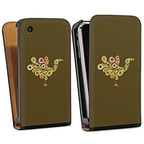 Apple iPhone 4 Housse Étui Silicone Coque Protection Paon Oiseau couleurs Sac Downflip noir