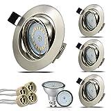 HiBay® Set 4 x GU10 Einbaustrahler LED, 230V, 5W, 18PCS High Power LEDs,Schwenkbar, Rund Deckeneinbauleuchte, Edelstahl gebürstet Deckeneinbaustrahler, 450 lumen, Warmweiß,2 Jahre Garantie