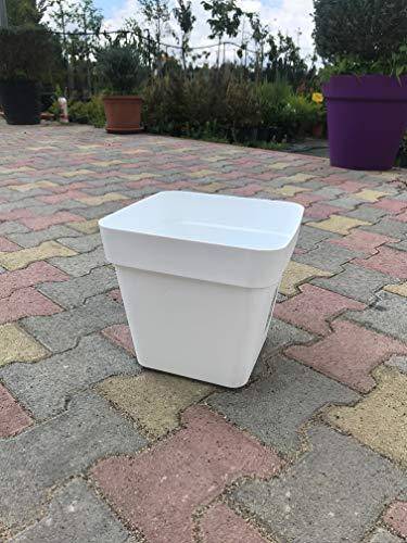 Ve.ca veneta casalinghi vaso quadrato fioriera quadrata plastica forte con ruote 34 cm colore bianco modello cleo amdgarden