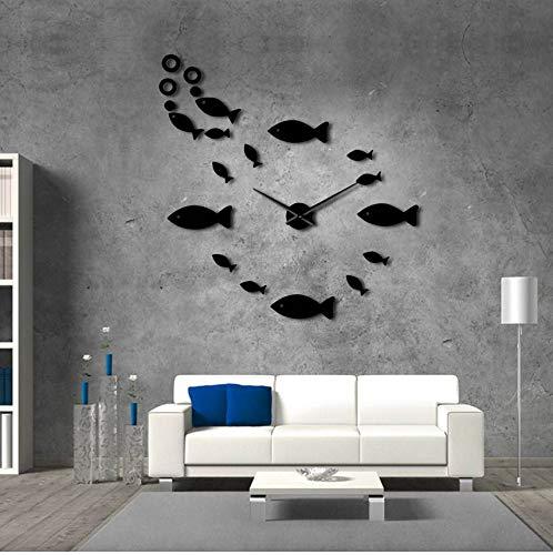 guyuell Fisch Mit Bubble DIY Riesen Wanduhr Spiegeleffekt Wand Kunst Home Decor Aquarium Dekoration Rahmenlose Große Nadel Uhr, 37Zoll