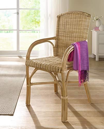 Dekoleidenschaft Rattan-Stuhl, Natur lackiert, Komfort Sitzhöhe 49cm