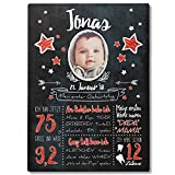 FANS & Friends Meilenstein Tafel aus Holz | Din A3 | Personalisiert mit Foto, Namen & Daten | 1. Geburtstag | Baby, Kleinkind (Rot)