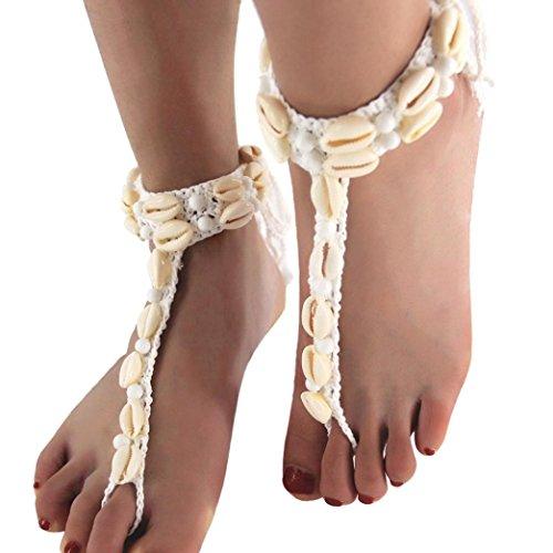 TAOtTAO Boho Frauen Weben Seil Shell Bead Fußkettchen Sandal Beach Shell Fußkettchen mit Perlen (Weiß)