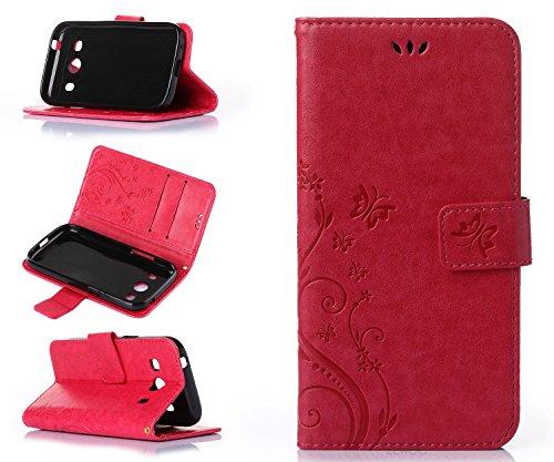 ZeWoo Folio Custodia in PU Pelle - R155 / Bel rosso - per Samsung SM-G357 Galaxy Ace 4 4G/LTE (4.3 pollici) Custodia Protettiva
