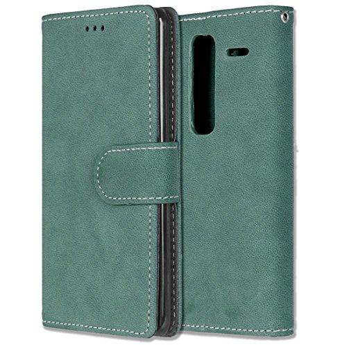 LG Zero / Class / H740 Hülle, Chreey Matt Leder Tasche Retro Handyhülle Magnet Flip Case mit Kartenfach Geldbörse Schutzhülle Etui [Grün]