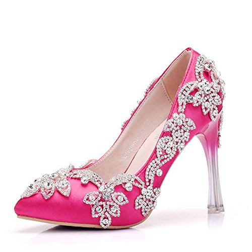 Nozze nuziale Tribunale Scarpe Donne Caviglia Raso Vestito Cristallo Tacco Strass Sera Primavera Le signore pompe Dimensione 35-41 Rose Red