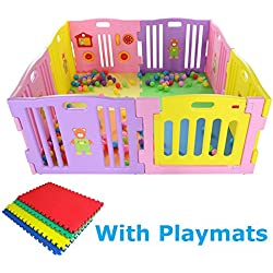 MCC Parc Rose pour bébés à 8 côtés avec panneau d'activités & tapis de sol