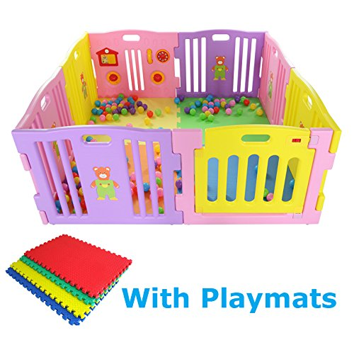 MCC Pink Plastic Baby Playpen with Activity panel amp; Floor Mats 8 Sides