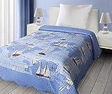 Eurofirany CHON/D/P/STATEK Patchwork Tagesdecke Statek für Kinder, Mikrofaser, blau, 210 x 170 x 2 cm