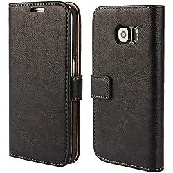 FDTCYDS Etui Galaxy S6 Edge,Pochette Portefeuille en Cuir Véritable Coque de Protection pour Housse Samsung Galaxy S 6 Edge Avec Fonction Stand - Black/Noir