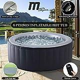 MSPA Gonflable Rond 205 cm 6 Personnes - Silver Cloud 6 Lite Gris - Jacuzzi, PVC, Pompe, Chauffage, Filtre, Bache