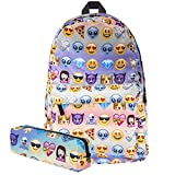 KooJoee lienzo Unisex Emoji escuela/senderismo/viajes/camping/mochila para portátil/libro bolsas/mochila para niños/niñas/niños/adolescentes/mujeres (libre lápiz bolsa) (plateado)