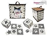 Happykiddoos Puzzlespielmatte Foam Matte. Spielmatte Schaumstoff Verriegelung Puzzle Kinderteppich. Jede Matte hat eine Größe von 30x30cm und ist 1 cm dick (Stern/Fuß 20 Matte, Grau/weiß)