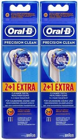 Braun Oral-B Precision Clean Ersatz-Zahnbürstenköpfe, 6 Stück (Oral B Flexisoft)