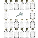 Viva Haushaltswaren–20Mini Vetro Bottiglie 20ml con Tappo a Vite con Imbuto del Diametro di 5cm