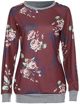 LuckyGirls Mujer Camisetas Manga Larga Flor Pintura Patchwork Tops Blusa Sudaderas Camisas