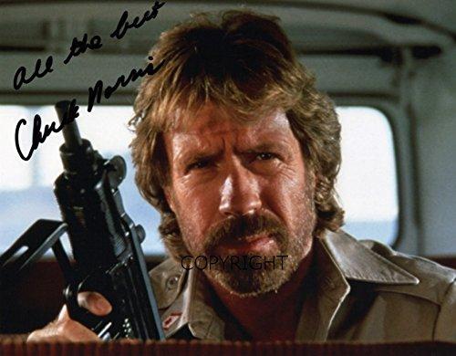 Limitierte Ausgabe: signiertes Foto von Chuck Norris mit vorgedrucktem - Texas Ranger-foto Walker